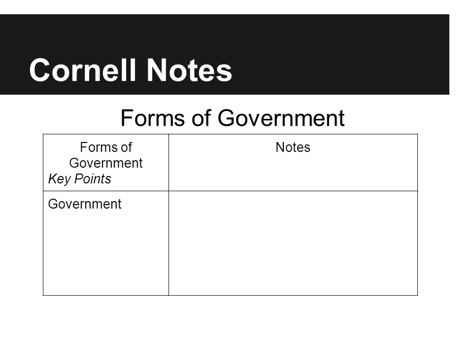 Cornell Notes Forms of Government Key Points Notes Government Forms of Government