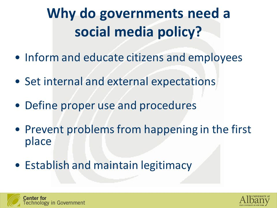 Why do governments need a social media policy.