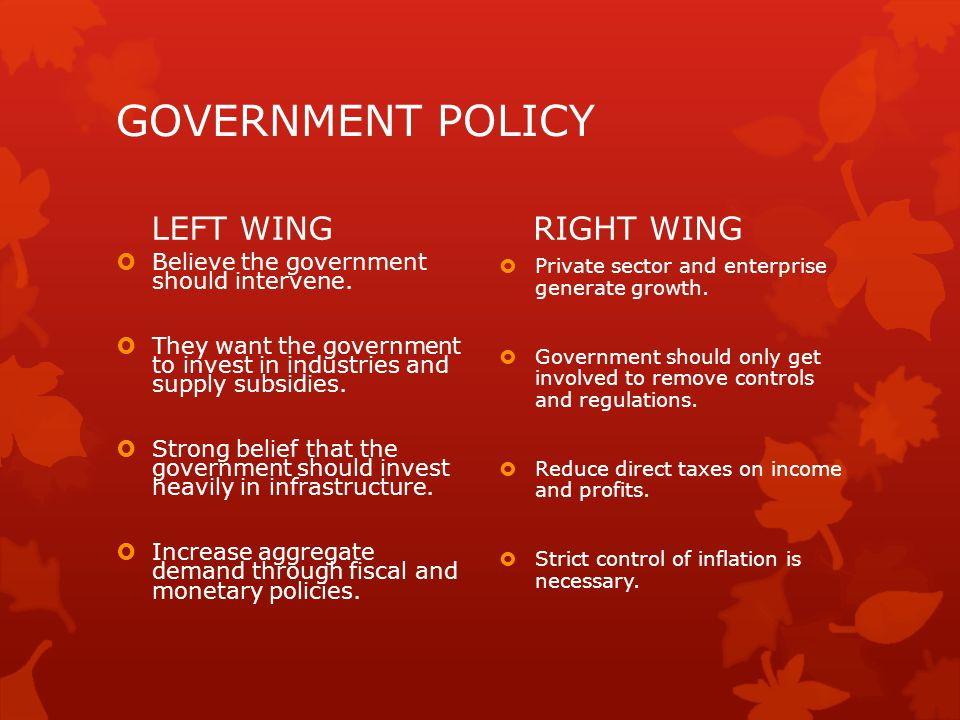 GOVERNMENT POLICY LEFT WING  Believe the government should intervene.  They want the government to invest in industries and supply subsidies.  Stro