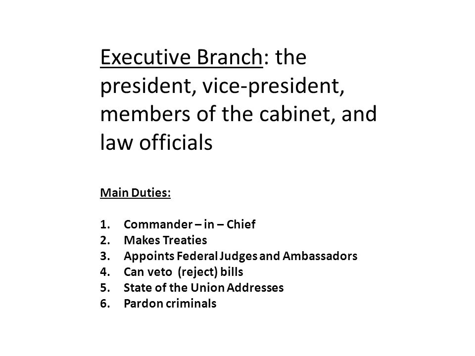 Executive Branch: the president, vice-president, members of the cabinet, and law officials Main Duties: 1.Commander – in – Chief 2.Makes Treaties 3.Appoints Federal Judges and Ambassadors 4.Can veto (reject) bills 5.State of the Union Addresses 6.Pardon criminals