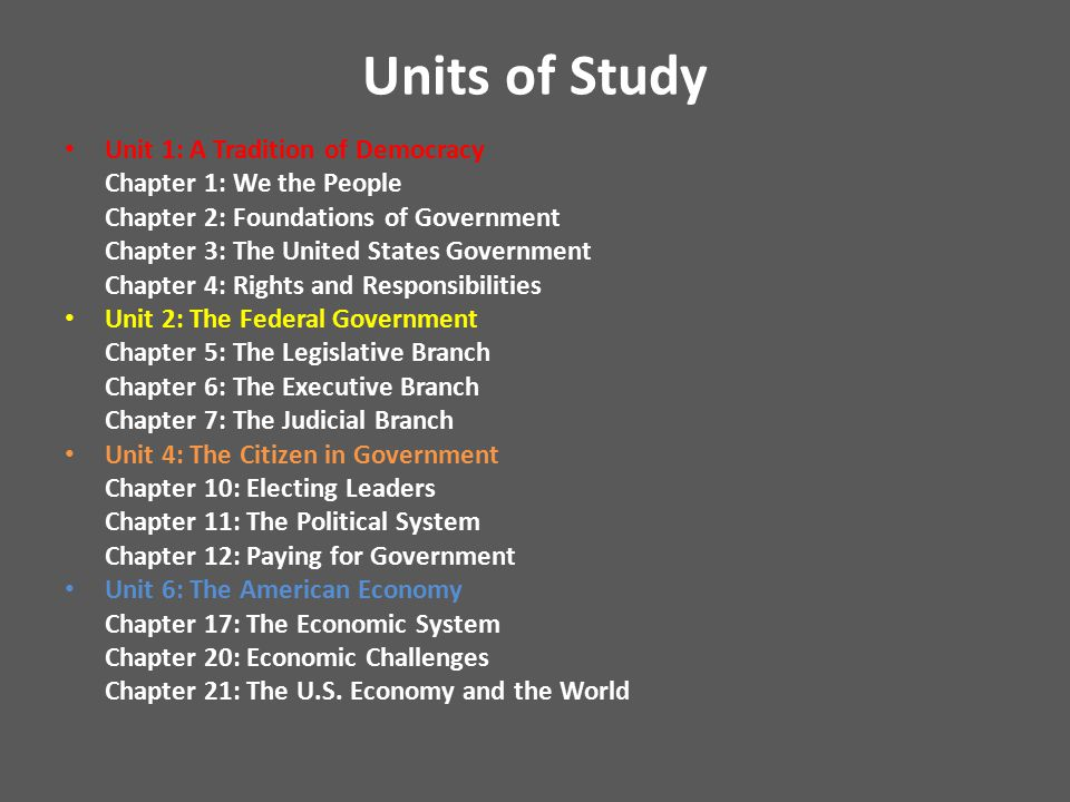 Units of Study Unit 1: A Tradition of Democracy Chapter 1: We the People Chapter 2: Foundations of Government Chapter 3: The United States Government Chapter 4: Rights and Responsibilities Unit 2: The Federal Government Chapter 5: The Legislative Branch Chapter 6: The Executive Branch Chapter 7: The Judicial Branch Unit 4: The Citizen in Government Chapter 10: Electing Leaders Chapter 11: The Political System Chapter 12: Paying for Government Unit 6: The American Economy Chapter 17: The Economic System Chapter 20: Economic Challenges Chapter 21: The U.S.