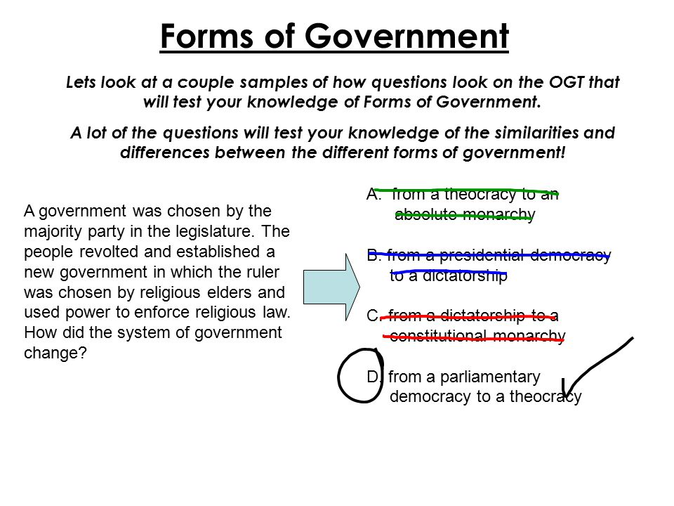 Forms of Government Lets look at a couple samples of how questions look on the OGT that will test your knowledge of Forms of Government. A lot of the