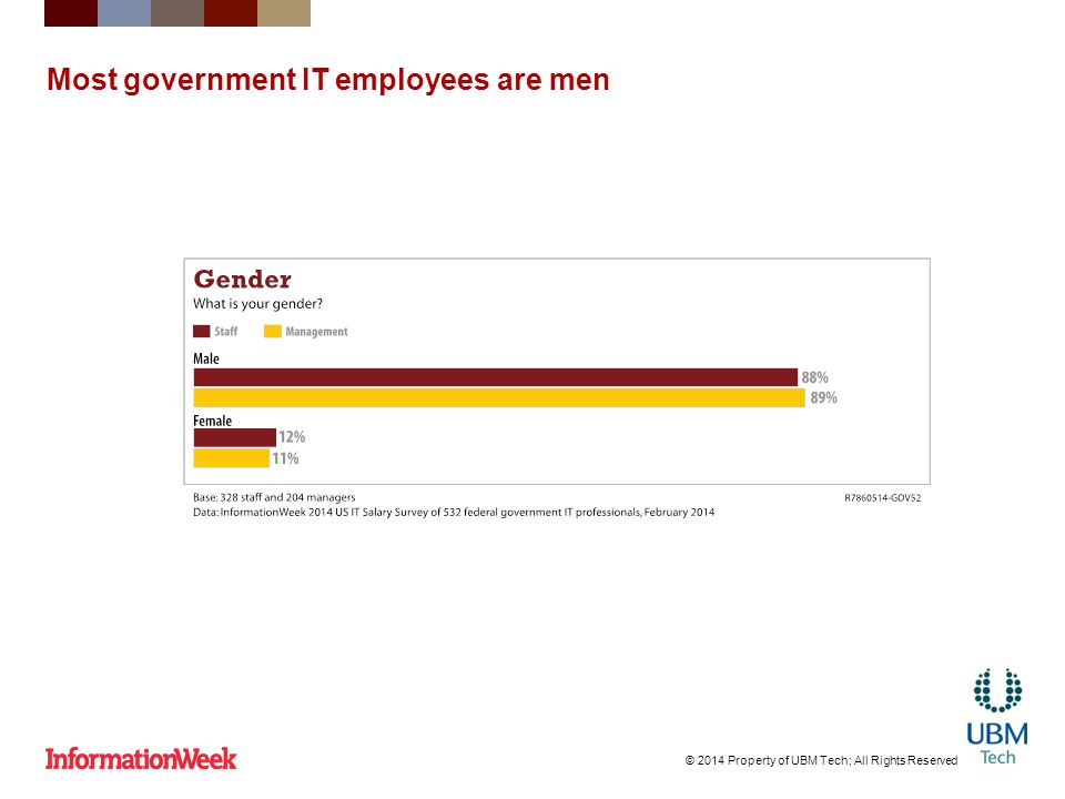 Most government IT employees are men © 2014 Property of UBM Tech; All Rights Reserved