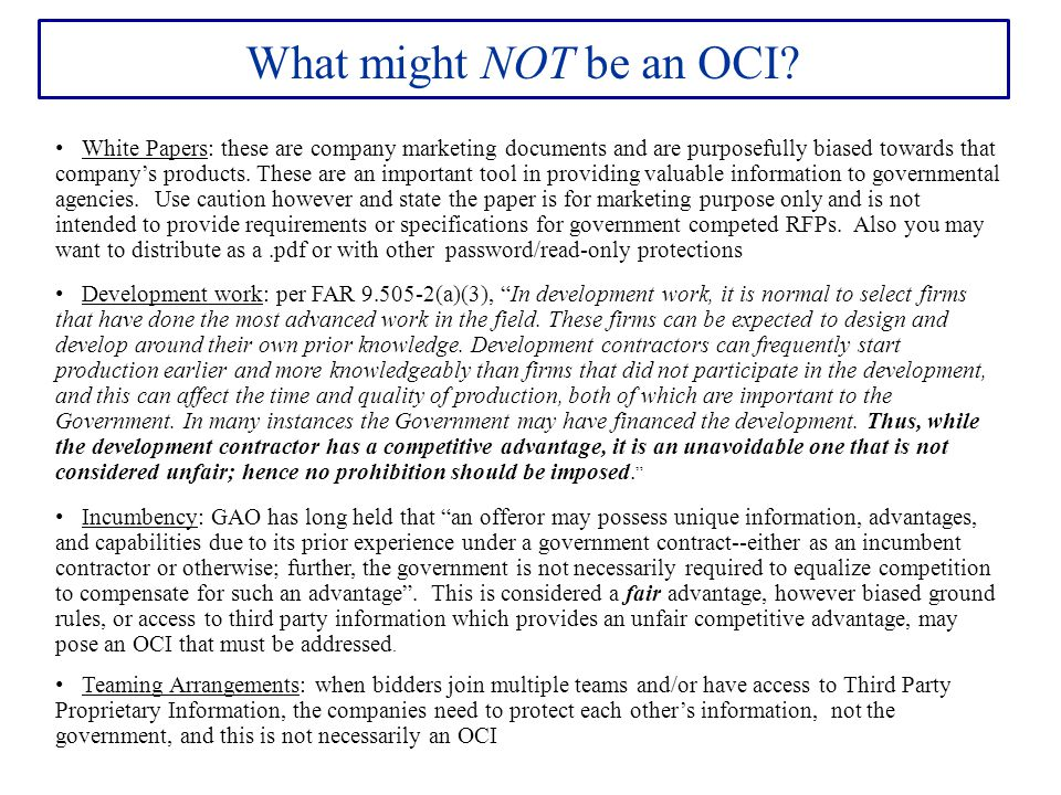 What might NOT be an OCI.