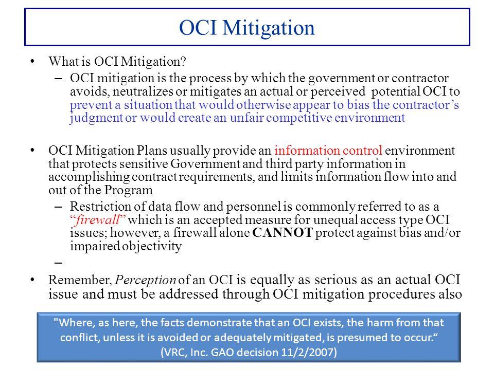 OCI Mitigation What is OCI Mitigation.