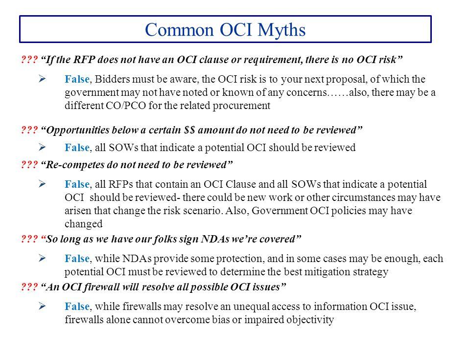 Common OCI Myths ??.