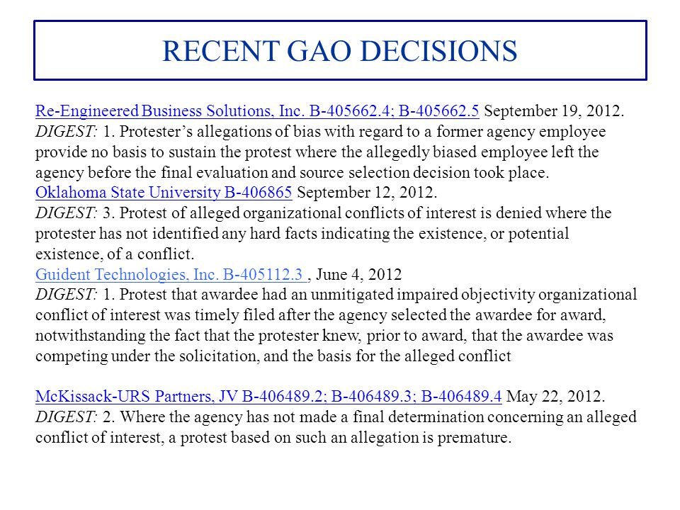 RECENT GAO DECISIONS AT&T Government Solutions, Inc B-407720; B-407720.2AT&T Government Solutions, Inc B-407720; B-407720.2 January 30, 2013.