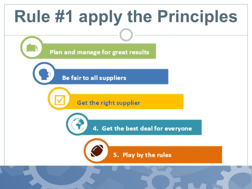 Rule #1 apply the Principles