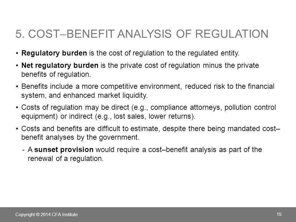 5. COST–BENEFIT ANALYSIS OF REGULATION Regulatory burden is the cost of regulation to the regulated entity. Net regulatory burden is the private cost