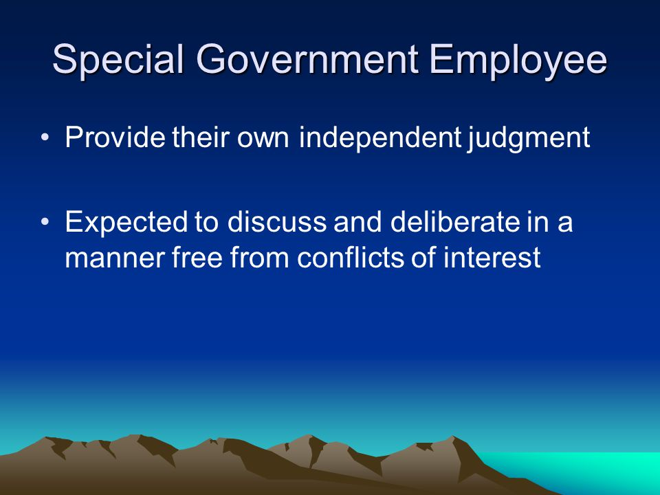 Special Government Employee Provide their own independent judgment Expected to discuss and deliberate in a manner free from conflicts of interest