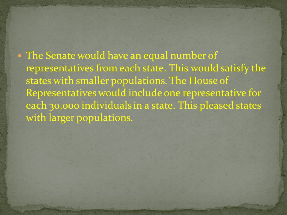The Senate would have an equal number of representatives from each state.