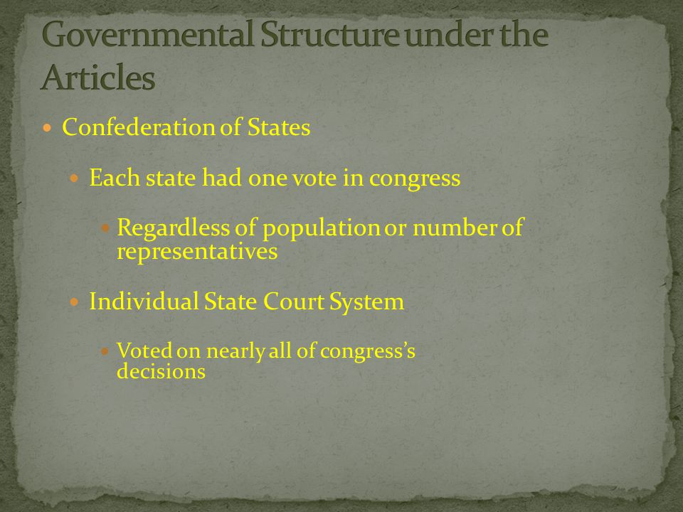 Confederation of States Each state had one vote in congress Regardless of population or number of representatives Individual State Court System Voted on nearly all of congress's decisions