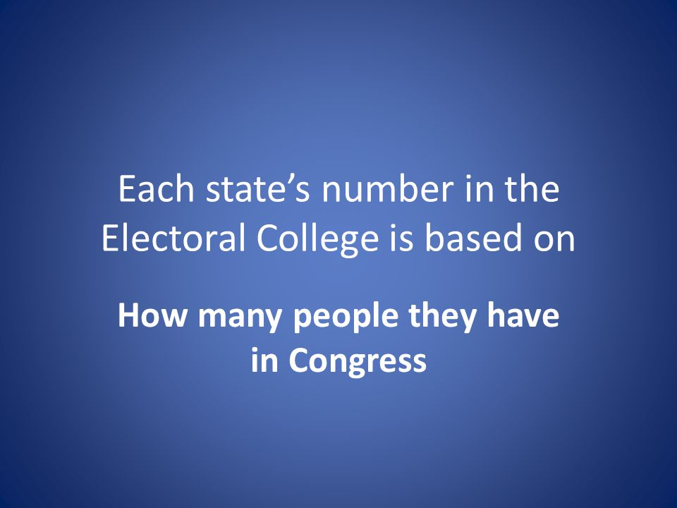 Each state's number in the Electoral College is based on How many people they have in Congress