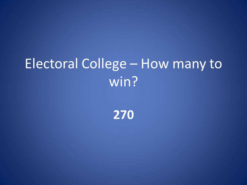 Electoral College – How many to win 270