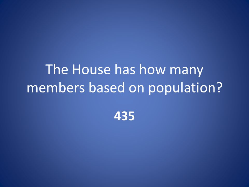The House has how many members based on population 435