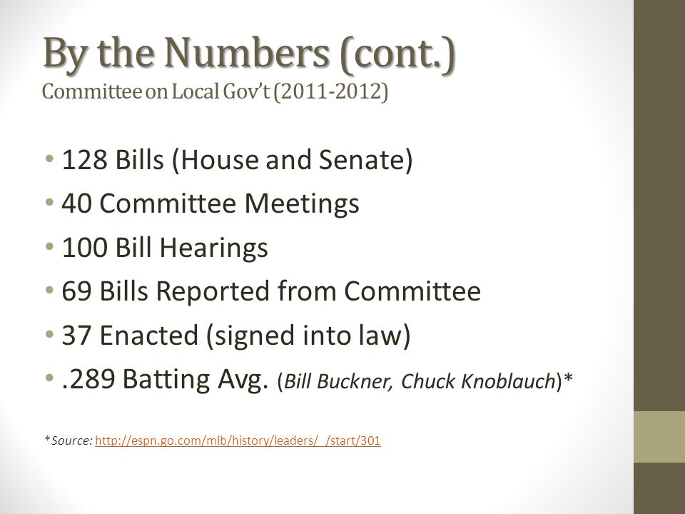 By the Numbers (cont.) By the Numbers (cont.) Committee on Local Gov't (2011-2012) 128 Bills (House and Senate) 40 Committee Meetings 100 Bill Hearings 69 Bills Reported from Committee 37 Enacted (signed into law).289 Batting Avg.