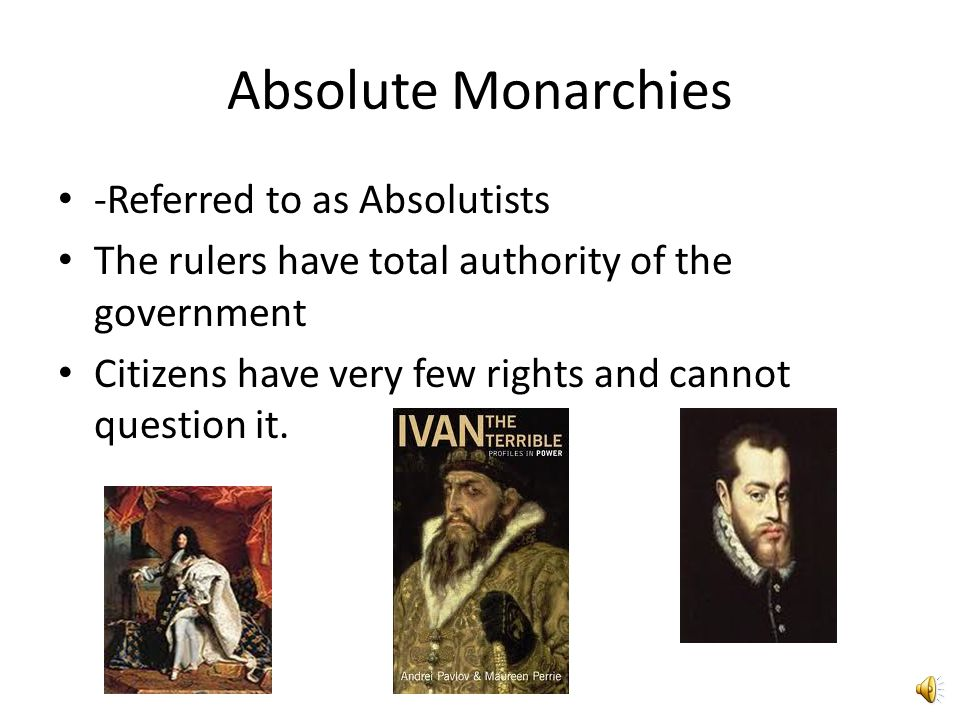 Monarchy A system of government where power belongs to a ruling family. Power is obtained by heredity (birthright) Power is justified by Divine Right-