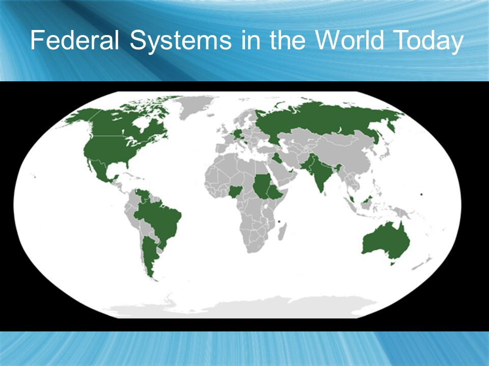 Federal Systems in the World Today