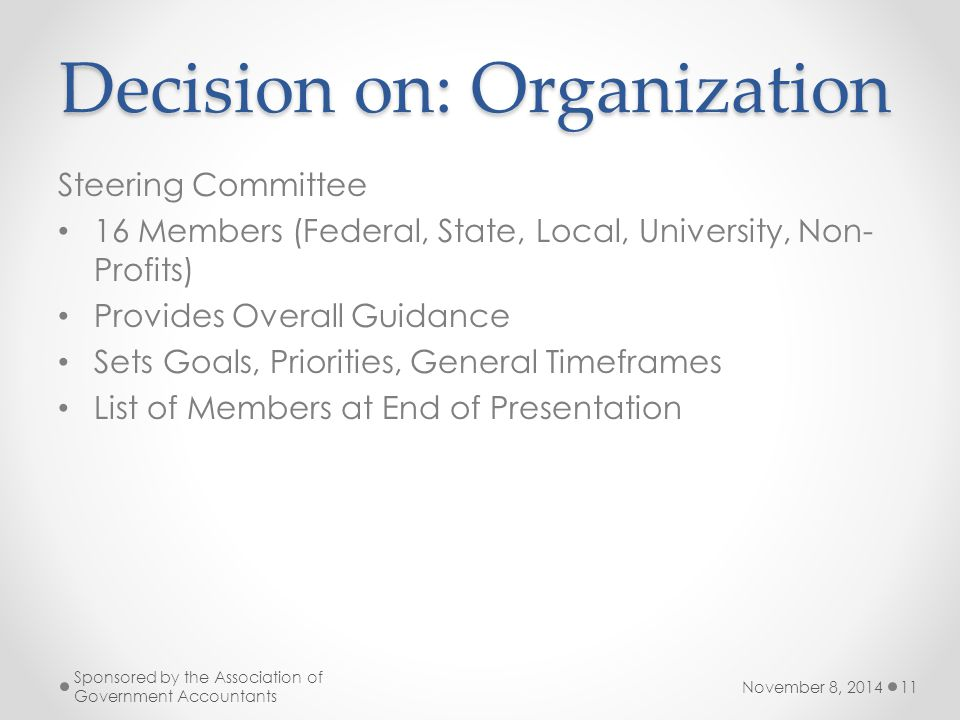 Decision on: Organization Steering Committee 16 Members (Federal, State, Local, University, Non- Profits) Provides Overall Guidance Sets Goals, Priorities, General Timeframes List of Members at End of Presentation November 8, 2014 Sponsored by the Association of Government Accountants 11