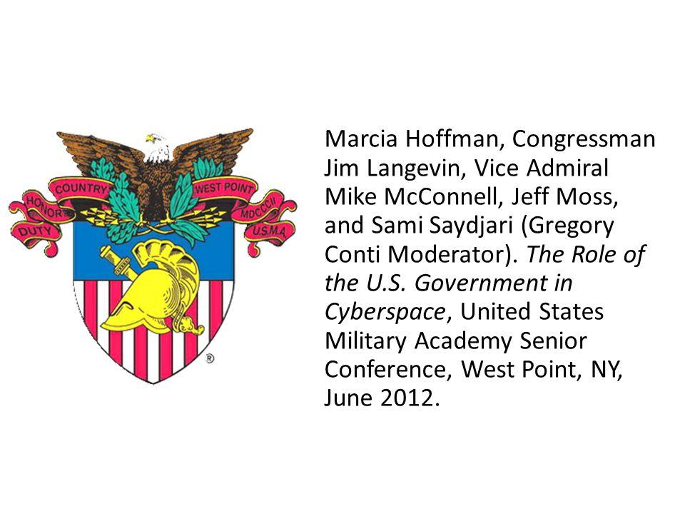 Marcia Hoffman, Congressman Jim Langevin, Vice Admiral Mike McConnell, Jeff Moss, and Sami Saydjari (Gregory Conti Moderator).