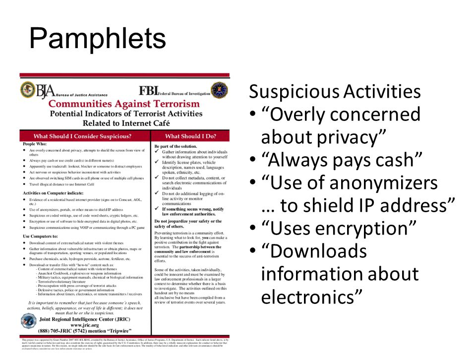 Pamphlets Suspicious Activities Overly concerned about privacy Always pays cash Use of anonymizers … to shield IP address Uses encryption Downloads information about electronics