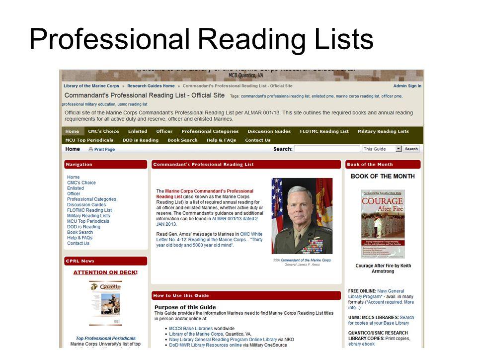 Professional Reading Lists
