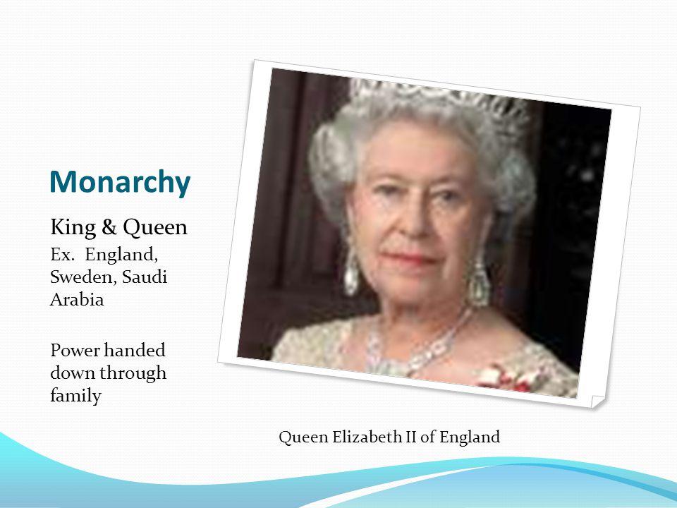 Monarchy King & Queen Ex. England, Sweden, Saudi Arabia Power handed down through family Queen Elizabeth II of England