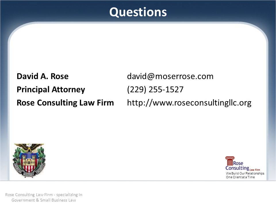We Build Our Relationships One Client at a Time Questions David A.