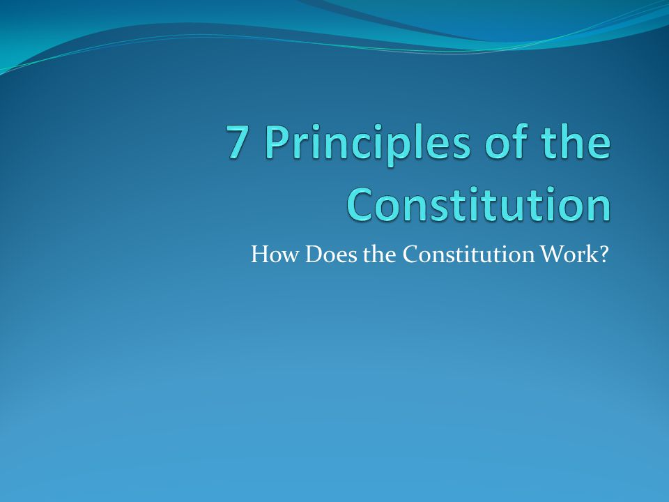 How Does the Constitution Work?