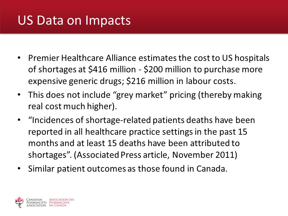 Premier Healthcare Alliance estimates the cost to US hospitals of shortages at $416 million - $200 million to purchase more expensive generic drugs; $216 million in labour costs.