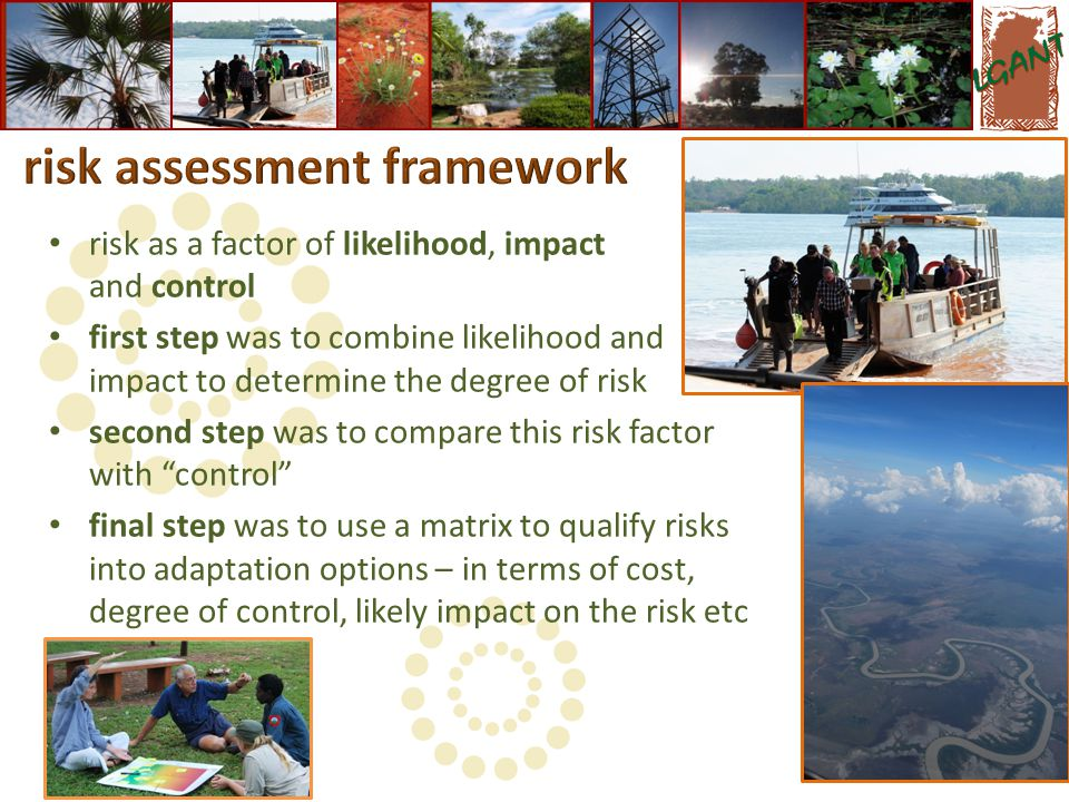 risk as a factor of likelihood, impact and control first step was to combine likelihood and impact to determine the degree of risk second step was to compare this risk factor with control final step was to use a matrix to qualify risks into adaptation options – in terms of cost, degree of control, likely impact on the risk etc