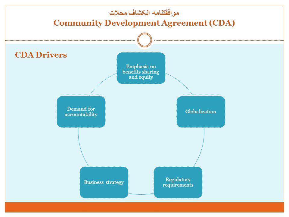 موافقتنامه انکشاف محلات Community Development Agreement (CDA) Benefits of community development agreements Clarity and Transparency Engagement Capacity Development Business Best Practices Sustainability منافع موافقتنامه انکشاف محلات