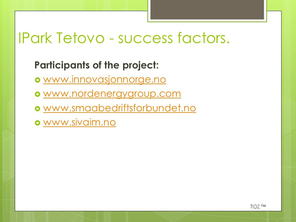 IPark Tetovo - success factors.
