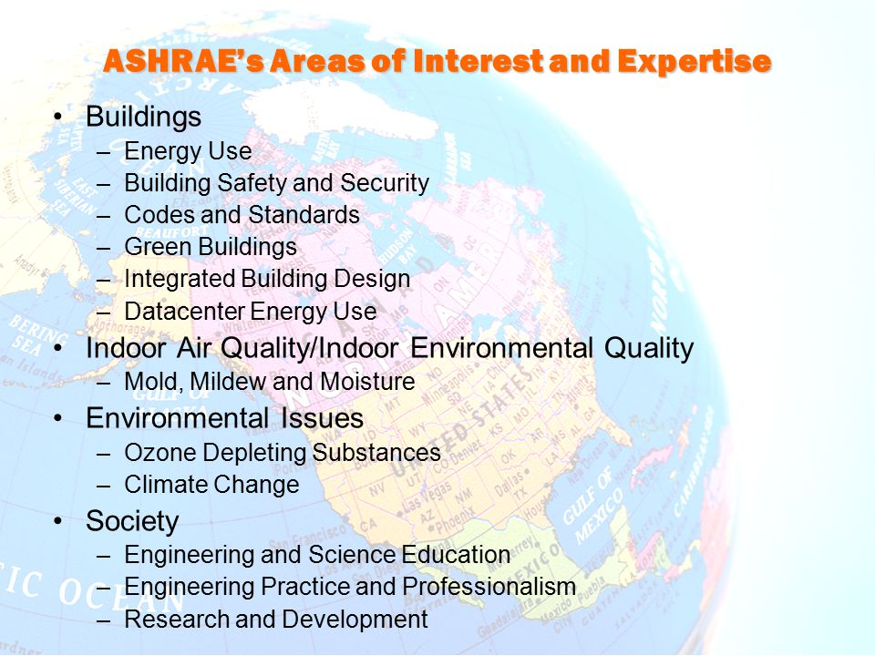 ASHRAE's Areas of Interest and Expertise Buildings –Energy Use –Building Safety and Security –Codes and Standards –Green Buildings –Integrated Buildin