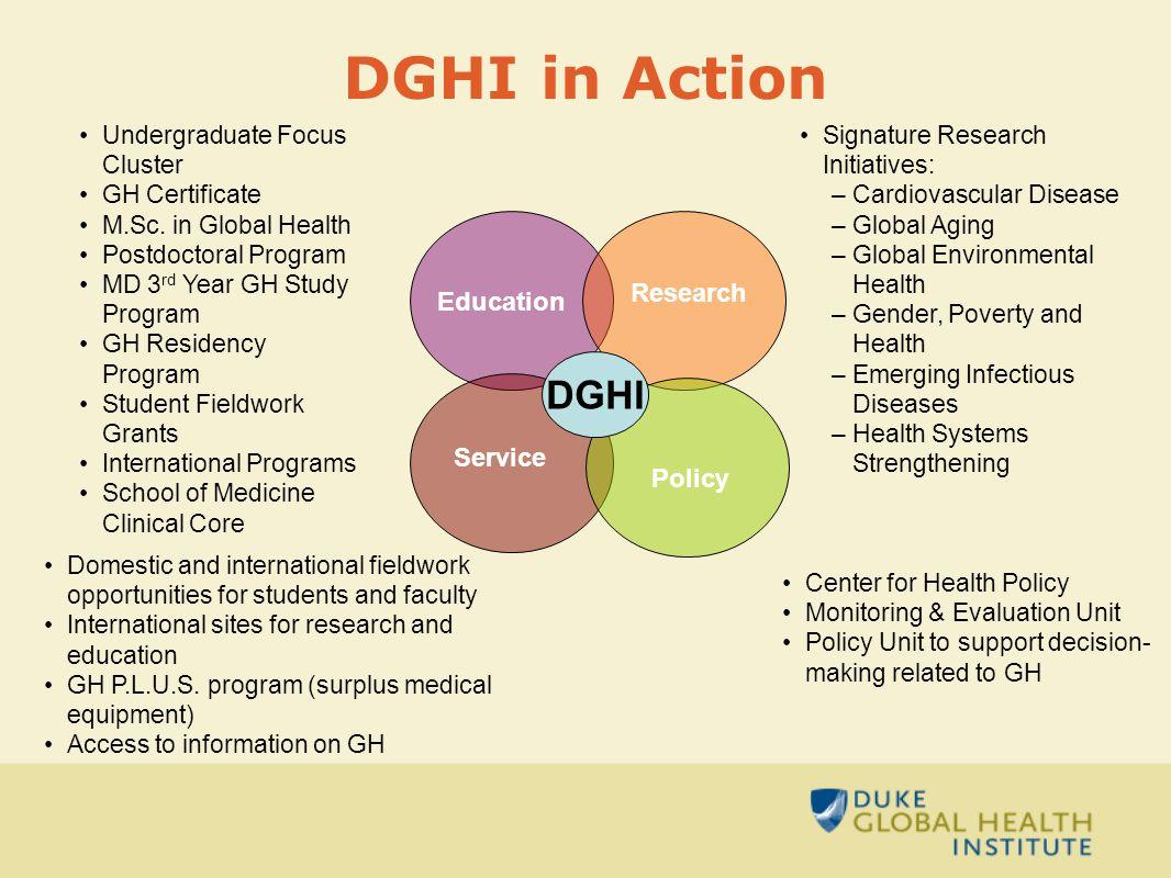 DGHI in Action Undergraduate Focus Cluster GH Certificate M.Sc.
