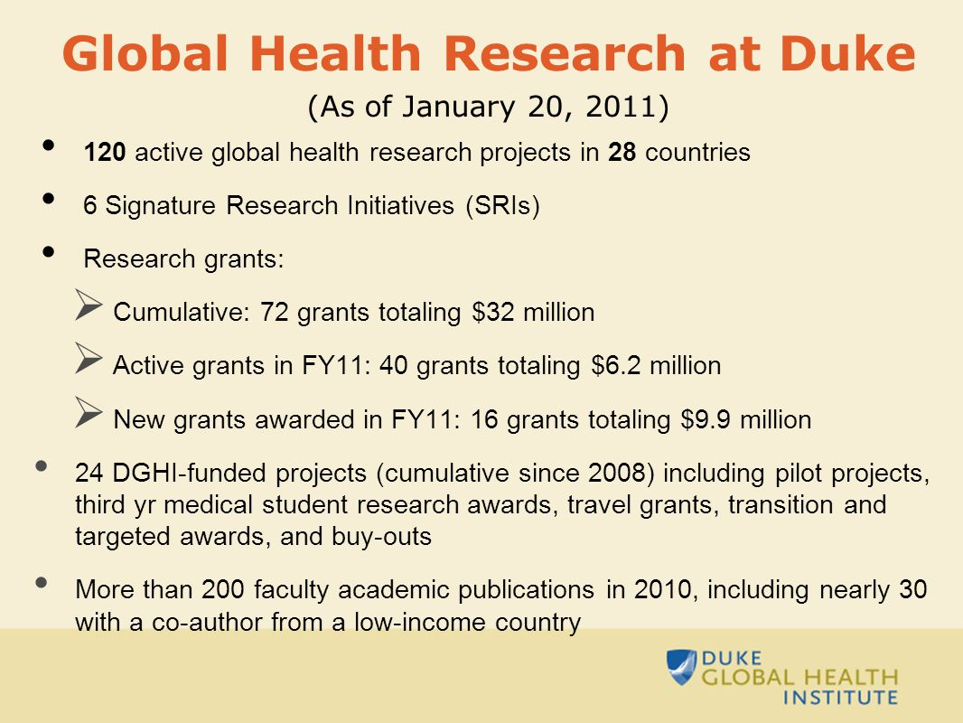 120 active global health research projects in 28 countries 6 Signature Research Initiatives (SRIs) Research grants:  Cumulative: 72 grants totaling $32 million  Active grants in FY11: 40 grants totaling $6.2 million  New grants awarded in FY11: 16 grants totaling $9.9 million 24 DGHI-funded projects (cumulative since 2008) including pilot projects, third yr medical student research awards, travel grants, transition and targeted awards, and buy-outs More than 200 faculty academic publications in 2010, including nearly 30 with a co-author from a low-income country Global Health Research at Duke (As of January 20, 2011)
