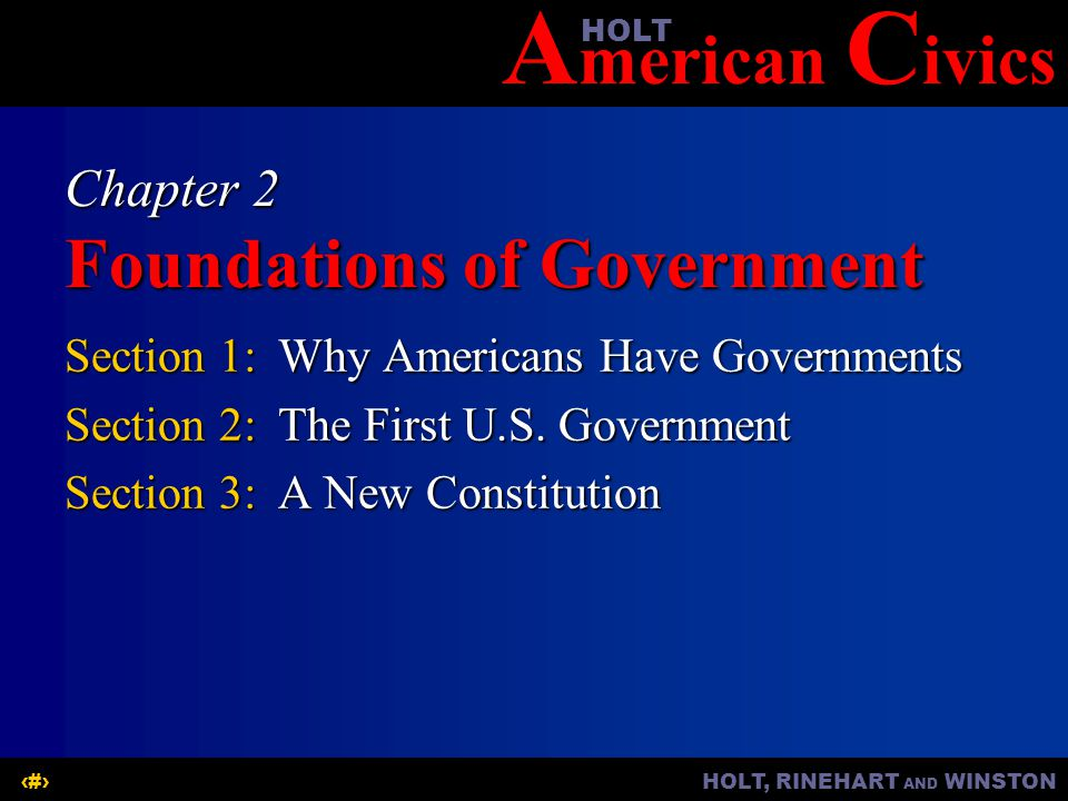 A merican C ivicsHOLT HOLT, RINEHART AND WINSTON2 Chapter 2 OBJECTIVES  What influences the form of a country's government.