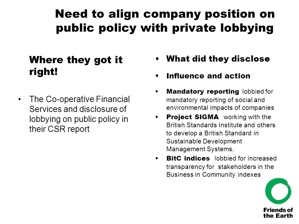 Need to align company position on public policy with private lobbying Where they got it right! The Co-operative Financial Services and disclosure of l