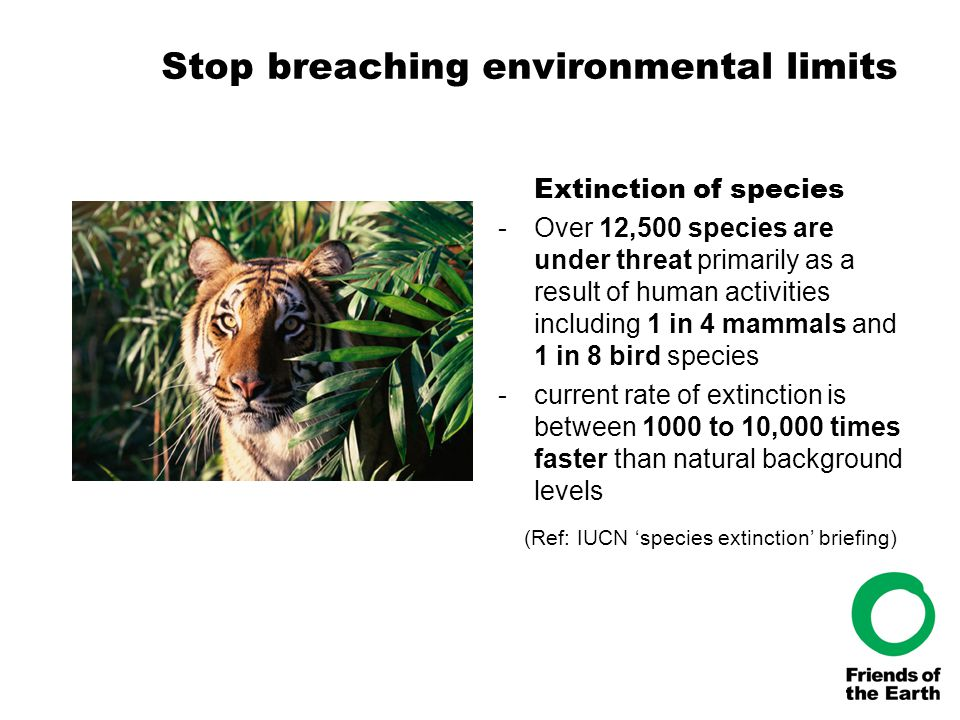Stop breaching environmental limits Extinction of species -Over 12,500 species are under threat primarily as a result of human activities including 1