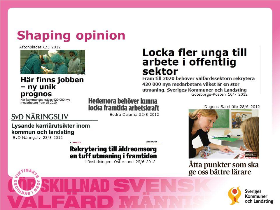 Shaping opinion Göteborgs-Posten 10/7 2012 Dagens Samhälle 28/6 2012 Länstidningen Östersund 25/6 2012 SvD Näringsliv 23/5 2012 Aftonbladet 6/3 2012 Södra Dalarna 22/5 2012