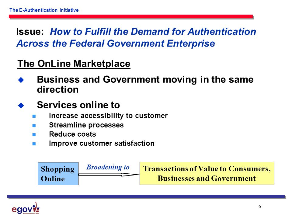 6 The E-Authentication Initiative The OnLine Marketplace  Business and Government moving in the same direction  Services online to Increase accessibility to customer Streamline processes Reduce costs Improve customer satisfaction Issue: How to Fulfill the Demand for Authentication Across the Federal Government Enterprise Shopping Online Transactions of Value to Consumers, Businesses and Government Broadening to