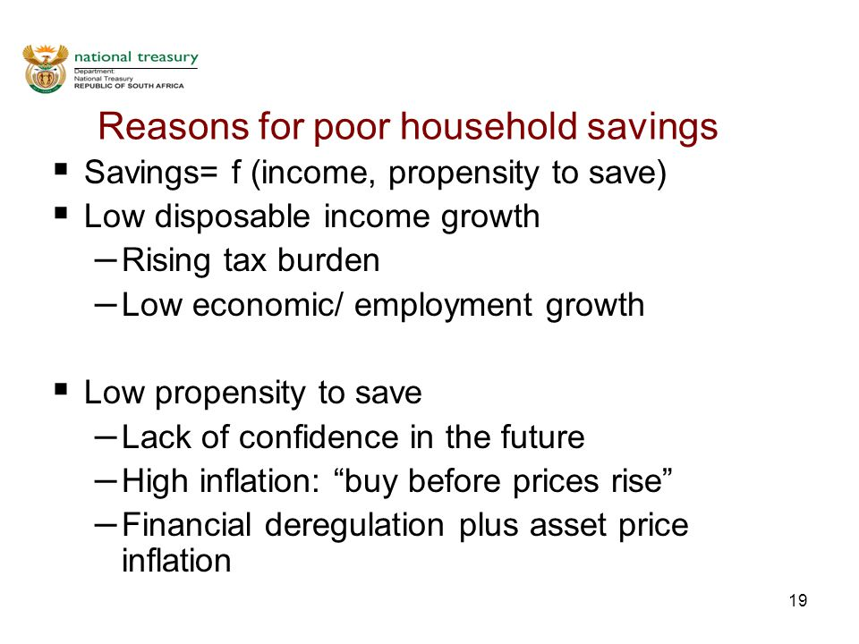 19 Reasons for poor household savings  Savings= f (income, propensity to save)  Low disposable income growth – Rising tax burden – Low economic/ employment growth  Low propensity to save – Lack of confidence in the future – High inflation: buy before prices rise – Financial deregulation plus asset price inflation