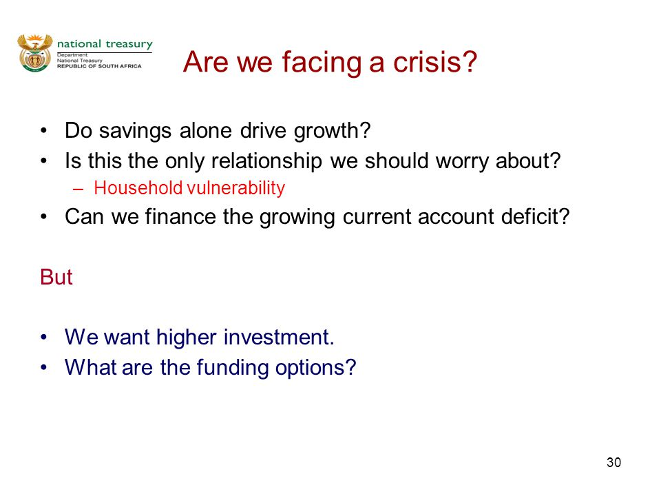 30 Are we facing a crisis. Do savings alone drive growth.