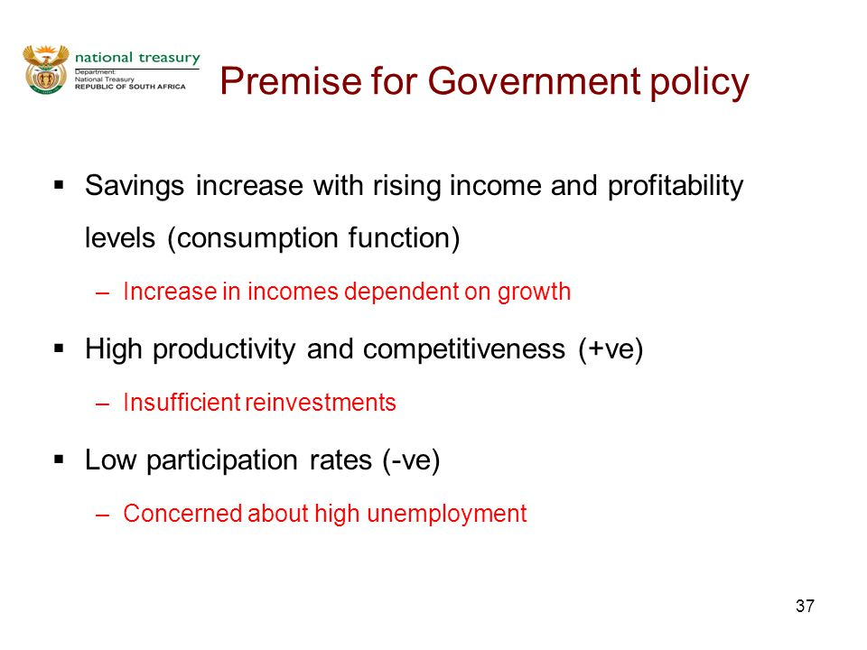 37 Premise for Government policy  Savings increase with rising income and profitability levels (consumption function) –Increase in incomes dependent on growth  High productivity and competitiveness (+ve) –Insufficient reinvestments  Low participation rates (-ve) –Concerned about high unemployment