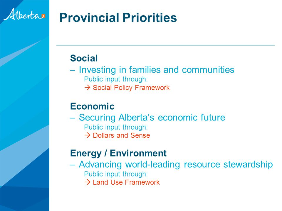 Provincial Priorities Social –Investing in families and communities Public input through:  Social Policy Framework Economic –Securing Alberta's economic future Public input through:  Dollars and Sense Energy / Environment –Advancing world-leading resource stewardship Public input through:  Land Use Framework