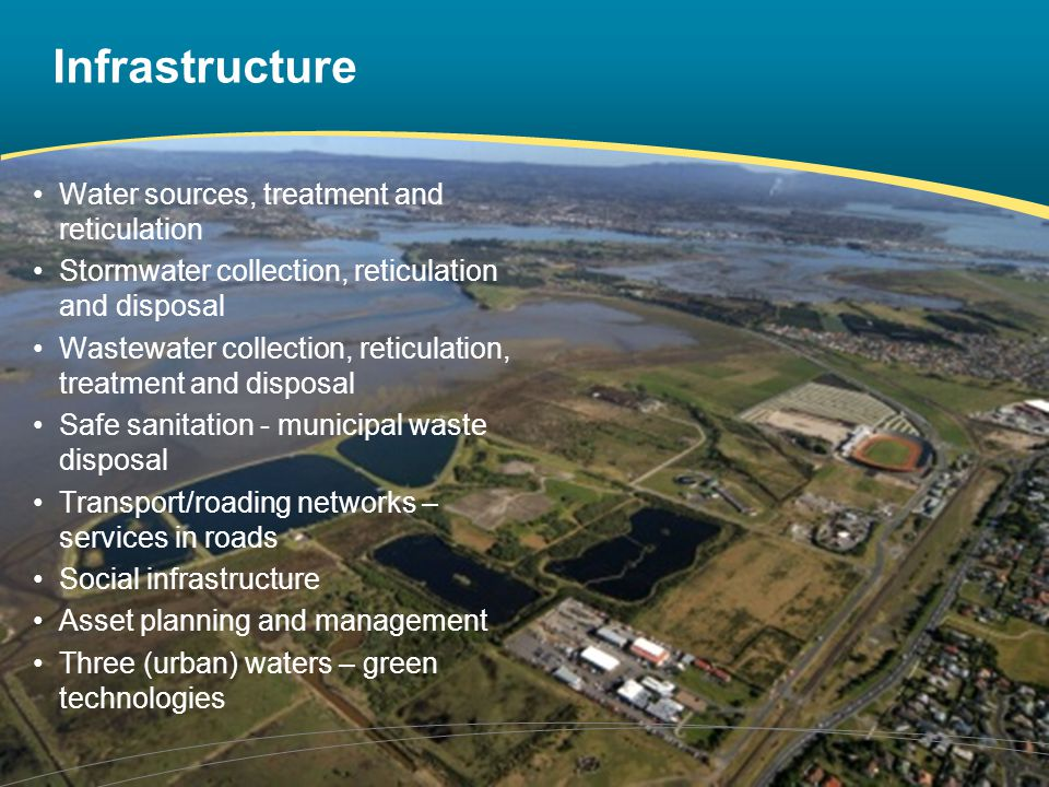 Infrastructure Water sources, treatment and reticulation Stormwater collection, reticulation and disposal Wastewater collection, reticulation, treatment and disposal Safe sanitation - municipal waste disposal Transport/roading networks – services in roads Social infrastructure Asset planning and management Three (urban) waters – green technologies