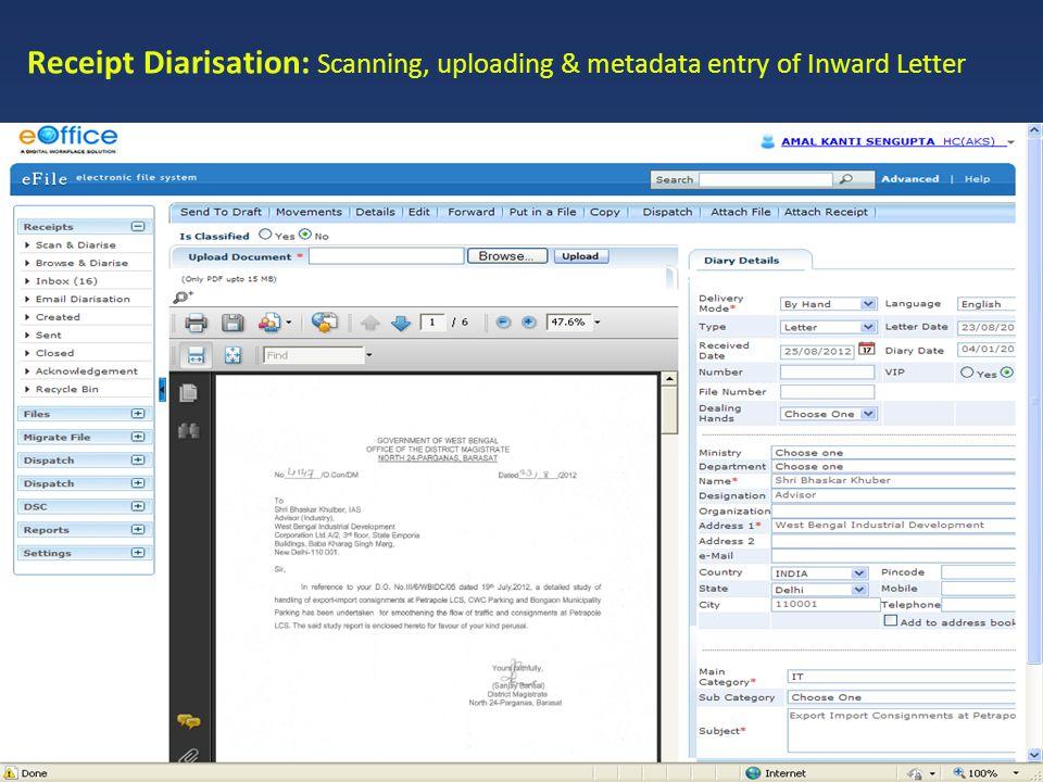 Receipt Diarisation: Scanning, uploading & metadata entry of Inward Letter