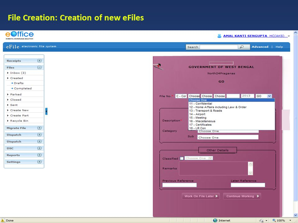 File Creation: Creation of new eFiles