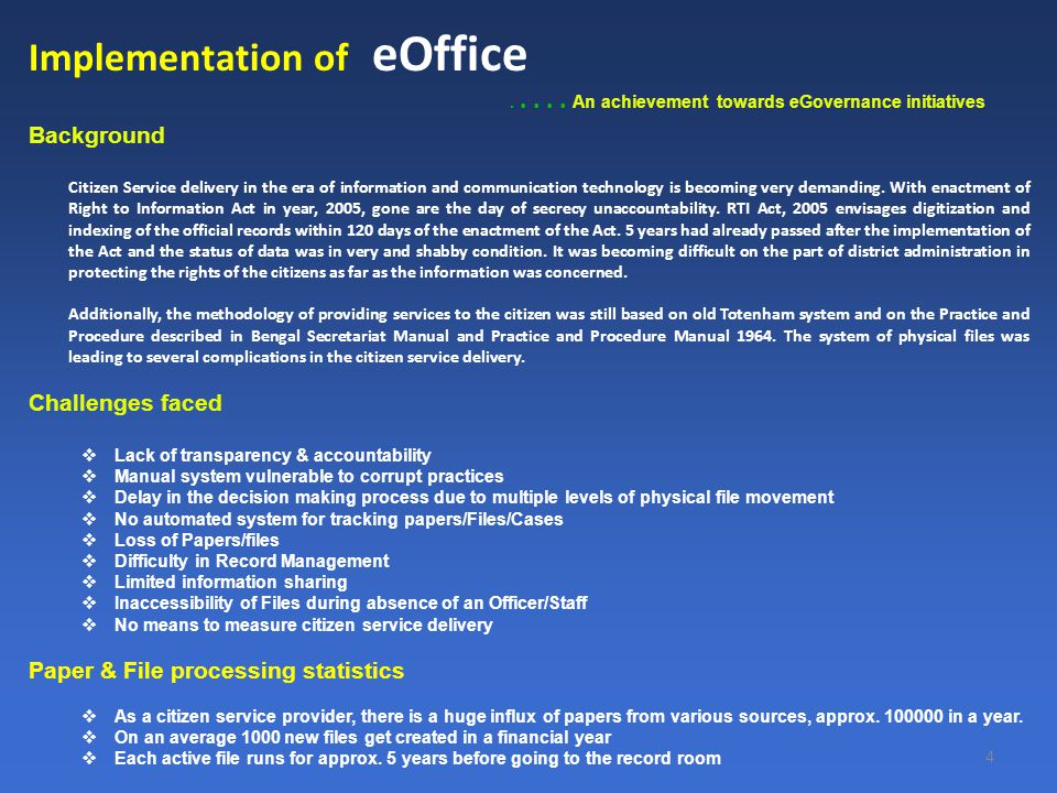 4 Implementation of eOffice.....