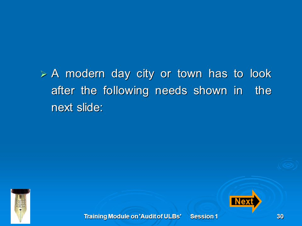 Training Module on Audit of ULBs Session 130  A modern day city or town has to look after the following needs shown in the next slide: Next
